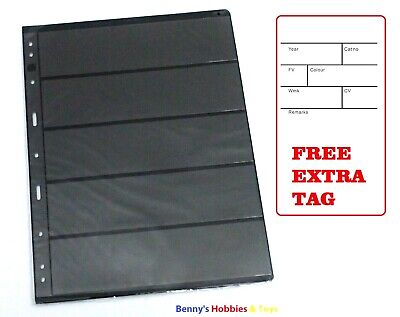 10 Stamp Stock Pages (5 Rows) Sheets w/ 9 Binder Holes - Black and Double Sided