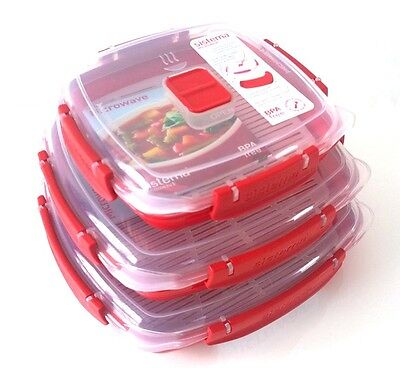 Sistema Microwave Plate Set Tray Steaming Cooking Plastic Clip Cover BPA Free