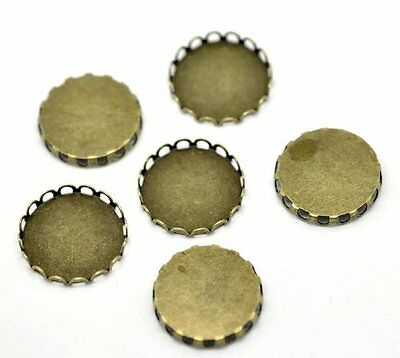 PEPPERLONELY Brand 30PC Antique Bronze Round Cabochon Frame Settings