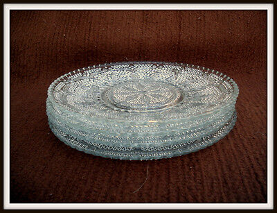 """Lot of (4) Vintage c1940-55 Federal Glass Co. HERITAGE CLEAR 8"""" Luncheon Plates"""