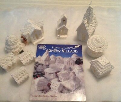 Completed Craft Snow Village 9  pc set + book Christmas White plastic canvas