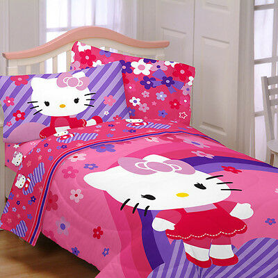 5p HELLO KITTY Flowers FULL COMFORTER SHEETS BEDDING SET Pink Purple Double cat