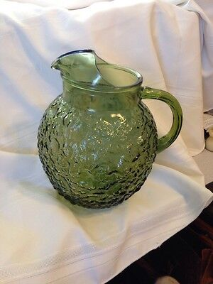 VINTAGE ANCHOR HOCKING MILANO LIDO WAVY GLASS BALL GREEN JUG   PITCHER ICE LIP