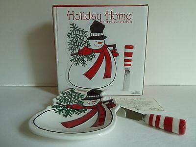 FITZ AND FLOYD Holiday Home SNOWMAN SNACK PLATE With Candy Cane Spreader