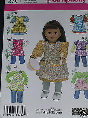 """18"""" Doll Dresses Aprons Pants Tops Jumper Simplicity 2761 Sewing Pattern"""