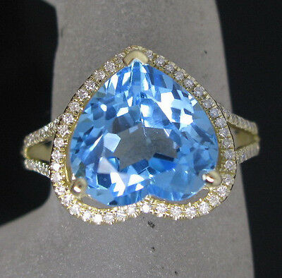 7.15ct Solid 14K Yellow Gold Genuine Natural Diamond Blue Topaz Engagement Ring
