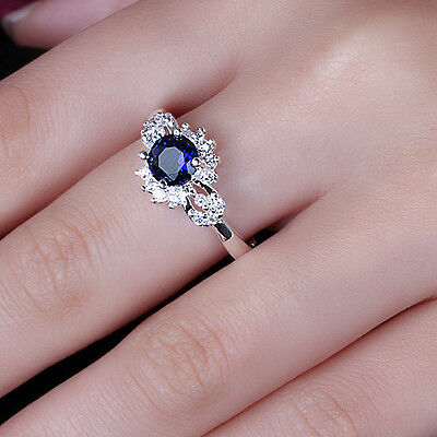 925 sterling silver Plated Shine sapphire Luxury Wedding Ring Size 8 R372