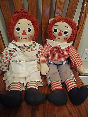 VINTAGE RAGGEDY ANN AND ANDY DOLLS KNICKERBOCKER 20 INCH MADE IN HONG KONG
