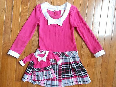 Dollie Me American Girl Pink Plaid Doll Easter Dress Girls Size 6 7 8 .SO CUTE!!