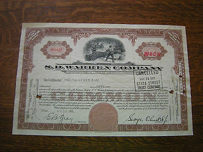 Vintage 1952 SD Warren Company Timber Lumber Stock Certificate
