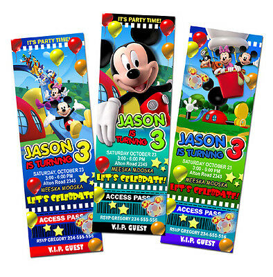 MICKEY MINNIE CLUBHOUSE DISNEY BIRTHDAY PARTY INVITATION TICKET BABY 1ST n2 firs