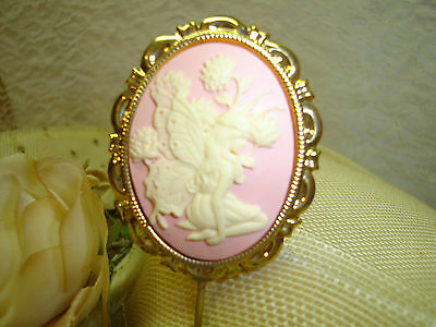 LARGE FAIRY CAMEO PINK GOLD PLATE FINISH FRAME HATPIN Hat Pins