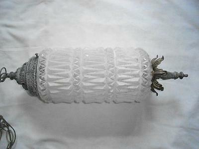 Vintage Hanging Pineapple Lamp Light Fixture White Painted Glass & Metal w Chain