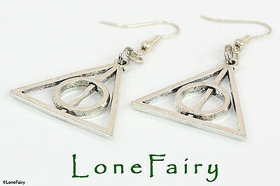Silver Plated Harry Potter Deathly Hallows Triangle Earrings Wizard Film