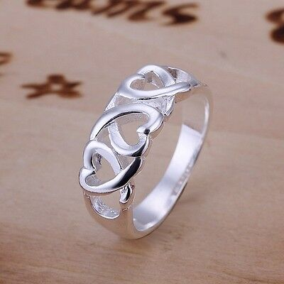 Free shipping! Womens Silver Plated with Heart Shape Romantic Lovers Ring L50