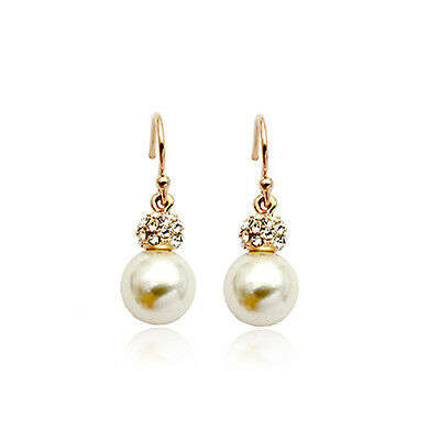 18K Rose Gold Plated Genuine Austrian Crystal And White  Pearl Dangle  Earrings
