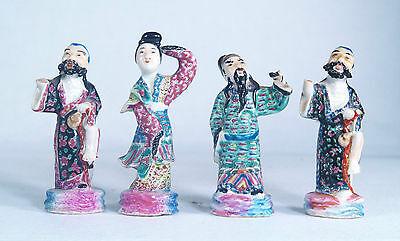 Antique Chinese Famille Rose Porcelain Group of 4 Figurines Signed