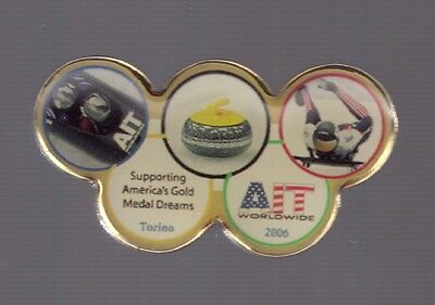 2006 AIT Olympic Pin Torino Supporting Americas Gold Medal Team Curling Bobsled