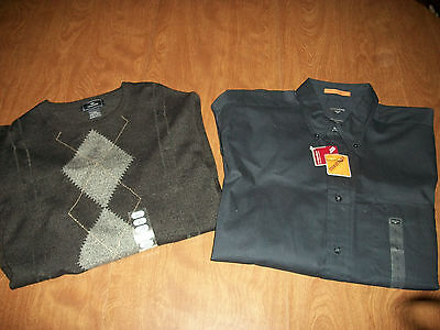 TWO 2 NEW W/ TAG Mens DOCKERS Shirts sz LARGE Button Front & Pullover SHIPS FREE