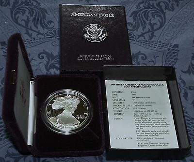 New 1989 & 1990 S AMERICAN EAGLE SILVER PROOF DOLLARS (BOXES & COAS)
