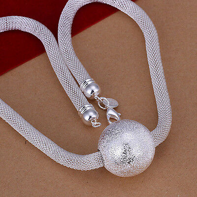 hot sale solid 925silver 1pc big frosted ball chain necklace SN182A