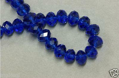 70pcs 8mm Glass Crystal Loose Beads rondelle faceted round Jewelry blue