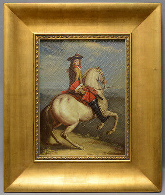 Framed very fine oil painting of portrait of Louis 16 of France on horse 22x26