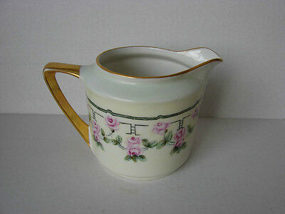 Vintage Porcelain Three Crown China Floral  Pitcher, Germany