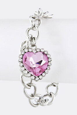 Pink Crystal Heart Silver Chain Bracelet Lobster Clasp Pink Clear Crystals Love