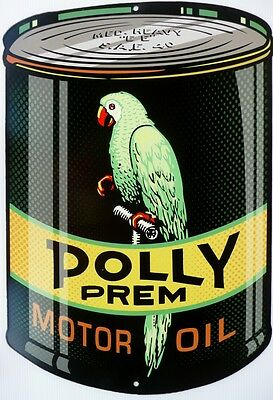 POLLY PREM SAE 40 MOTOR OIL, ALL WEATHER Die Cut Metal Tin Sign
