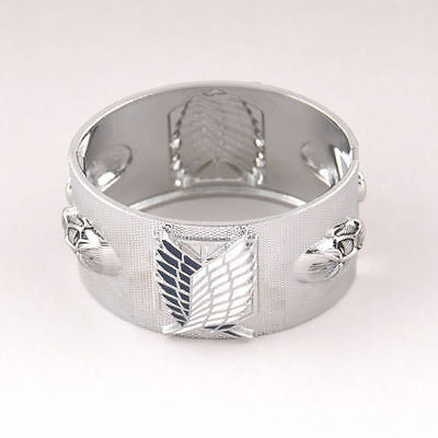 Men's Silver Bangle Hot Cosplay Attack on Titan Wrist Cuff Bracelet Jewelry