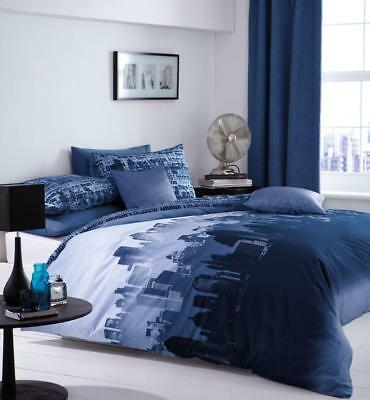 Catherine Lansfield Kids/Boys City Scape Duvet/Quilt Cover Bedding Set In Blue