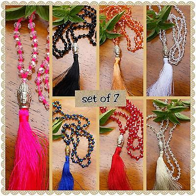 set of 7 buddha tassel pendants 6mm glass bead