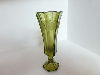 Fostoria Green Coin Glass 8 Inch Vase, Liberty Bell and Eagle