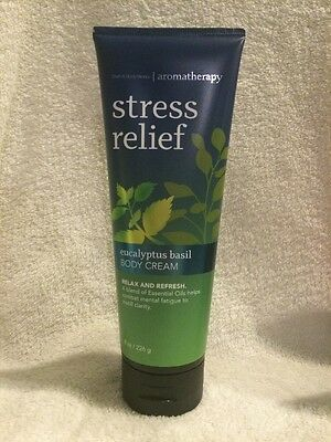 Bath & Body Works Aromatherapy~Stress Relief Eucalyptus Basil Body Cream~NEW $15