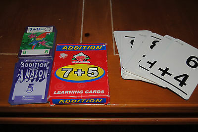 3 SETS OF ADDITION FLASH CARDS. LEARNING CARDS. ANSWERS ON BACK. EDUCATIONAL AID