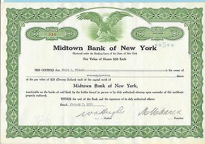 Midtown Bank of New York, share certificate dated 1930.