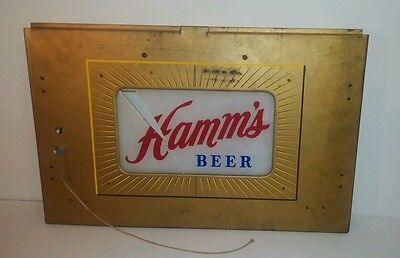 Vintage 50's-60's Hamm's Beer Hard Wired Pull Chain Metal Glass Sign
