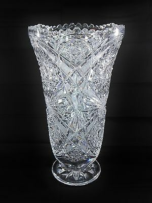 """Large 12"""" EAPG Glass Double Pinwheel Hobstar Scalloped Saw Tooth Pedestal Vase"""