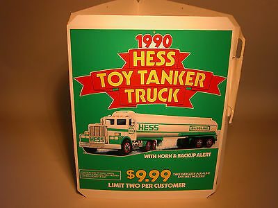 Hess 1990 Toy Tanker Truck 3 Sided Counter Display Poster
