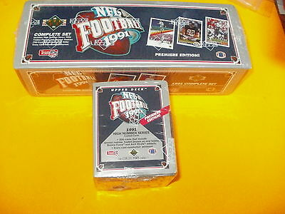 1991 UPPER DECK COMPLETE FACTORY SEALED FOOTBALL SETS LOW AND HIGH # SETS