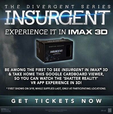 INSURGENT GOOGLE CARDBOARD SHATTER REALITY VIEWER IMAX 3D VR Divergent PROMO
