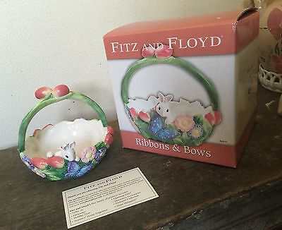 FITZ AND FLOYD Ribbons & Bows EASTER Bunny In BASKET Flower Garden Butterfly