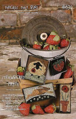 """Punchneedle Pattern by Threads That Bind  """"Strawberry Patch"""" (Four Mini Pins)"""