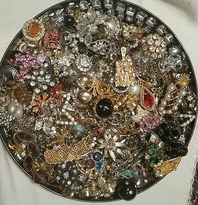 VINTAGE TO NOW RHINESTONE PIECES FOR PARTS REPAIR HARVEST JUNK LOT#9