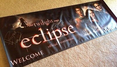 """Cast Autographed Banner from Twilight Saga Convention 2010, 84"""" X 30"""", Eclipse"""
