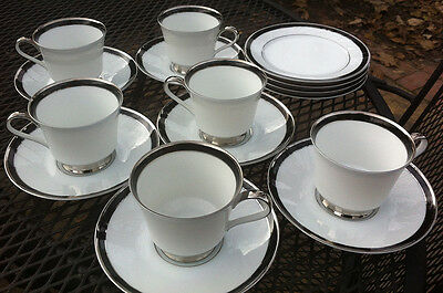 HEINRICH SELB BLACK BAND Plates, Cups, Saucers . BAVARIA
