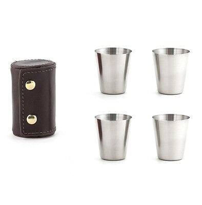 Kikkerland Camping / Travel 4pc Stainless Steel Shot Glass Set with Leather Case