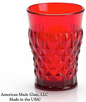 Red Glass Quilted / Elizabeth Pattern Tumbler - Mosser USA