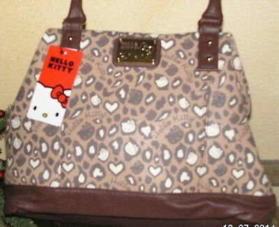 Authentic NWT HELLO KITTY LOUNGEFLY BROWN LEOPARD PRINT TOTE SHOULDER PURSE